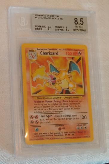 Vintage Early 1999 Unlimited Pokemon #4 Charizard Holo Base Card BGS Beckett GRADED 8.5 NRMT