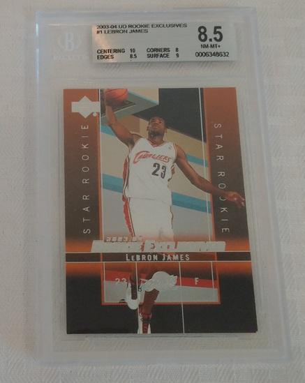2003-04 Upper Deck Rookie Exclusives #1 LeBron James Beckett BGS GRADED 8.5 NRMT Cavaliers Lakers RC