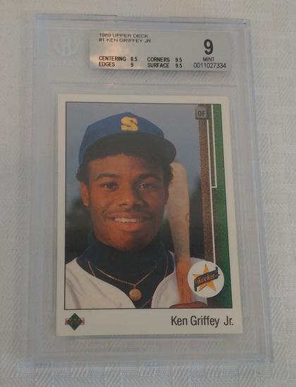 1989 Upper Deck Baseball #1 Ken Griffey Jr Rookie RC Mariners HOF BGS GRADED 9 MINT Key Card