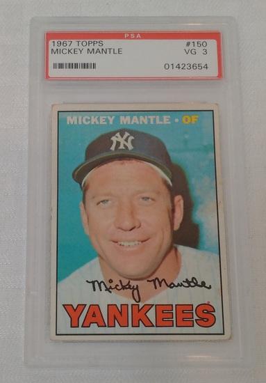 Vintage 1967 Topps Baseball Card #150 Mickey Mantle Yankees HOF PSA GRADED 3 VG Slabbed