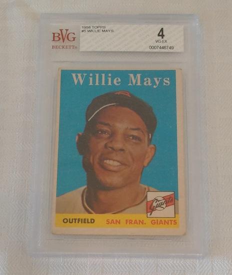 Vintage 1958 Topps Baseball Card #5 Willie Mays Giants HOF Beckett GRADED 4 VG-EX Slabbed
