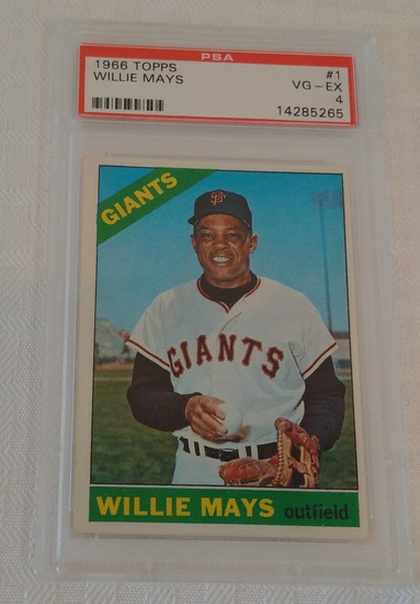 Vintage 1966 Topps #1 Willie Mays Baseball PSA GRADED 4 Giants HOF First Card In Set