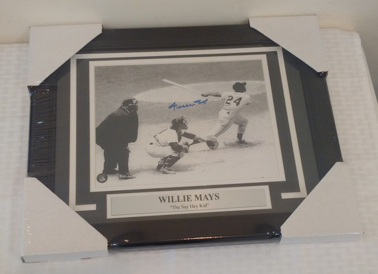 Willie Mays Autographed Signed 8x10 Photo Framed Matted Say Hey His Own Hologram COA Giants HOF