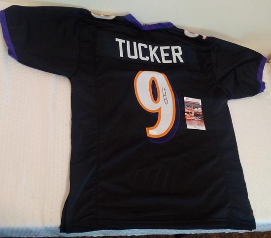 Justin Tucker Autographed Signed Custom NFL Black Football Jersey Ravens JSA COA Kicker XL