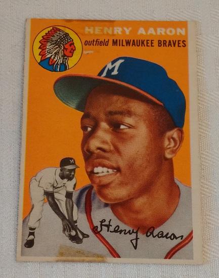Key Vintage 1954 Topps Baseball Card #128 Hank Aaron Rookie RC Braves HOF