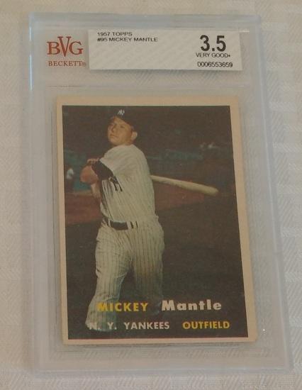 Vintage 1957 Topps Baseball Card #95 Mickey Mantle Yankees HOF Beckett GRADED 3.5 VG+ Slabbed