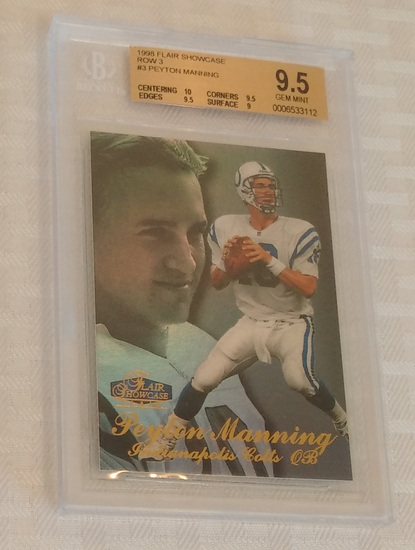 1998 Flair Showcase Row 3 Peyton Manning Colts Rookie Card RC BGS GRADED 9.5 GEM Mint Colts HOF