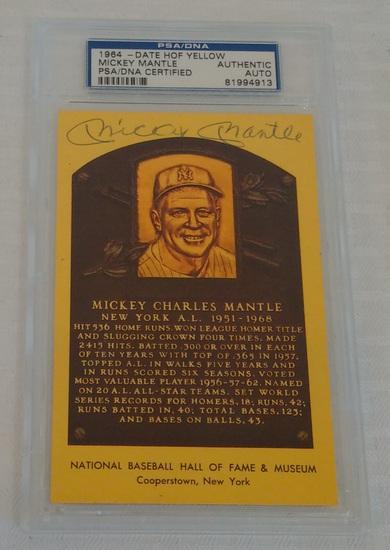 Vintage 1974 HOF Plaque Postcard Mickey Mantle Autographed Signed Yankees PSA Slabbed Authentic MLB