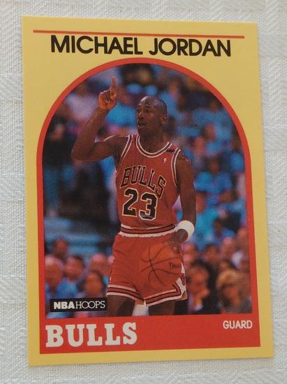 1989-90 NBA Hoops Basketball Card #12 Michael Jordan Yellow Sears Version Bulls HOF Sharp Pack Fresh