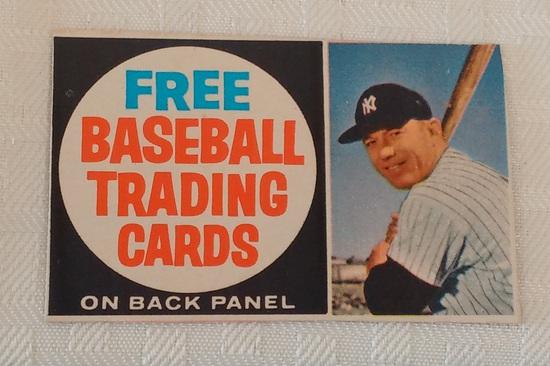 Vintage 1962 Post Cereal Hand Cut Baseball Card Ad Front Box Mickey Mantle Yankees HOF Panel Rare