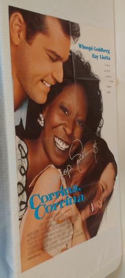 Whoopi Goldberg Rare Full Size Movie Poster Corinna Corinna 1994 Secretary Signed w/ Letter 27x40