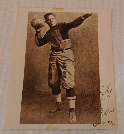 Fritz Pollard Autographed Signed 8x10 Photo Inscription Full JSA Letter First Black NFL HOF Rare