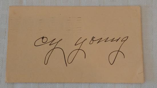 Vintage Cy Young Autographed Signed Card Postcard Full JSA Letter MLB Baseball HOF Paper Dated 1946