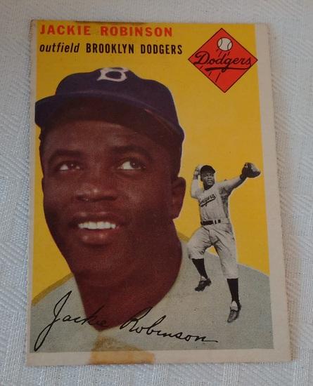 Key Vintage 1954 Topps Baseball Card #10 Jackie Robinson Dodgers HOF