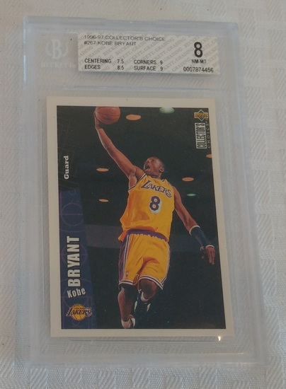 1996-97 Collector's Choice NBA Basketball Kobe Bryant Lakers Rookie Card RC HOF #267 BGS GRADED 8 RC