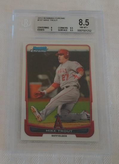 2012 Bowman Chrome Baseball Card #157 Mike Trout Angels BGS GRADED 8.5 NRMT MINT Slabbed