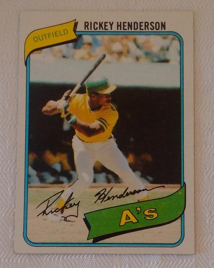 Key Vintage 1980 Topps Baseball #482 Rickey Henderson Rookie Card RC A's HOF