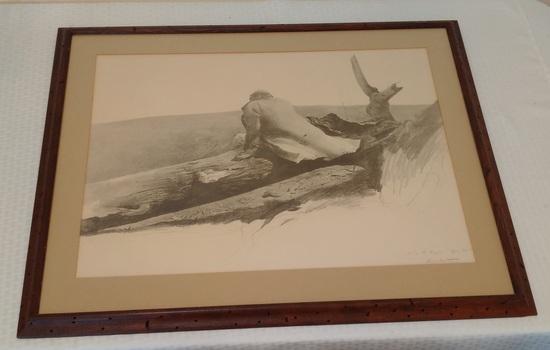Vintage Andrew Wyeth Large Framed Print 25x31 April Wind Worm Hole Wooden Frame Art Artwork