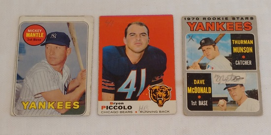 Vintage Card Lot 1969 Topps NFL Football Brian Piccolo Rookie RC Mickey Mantle Yankees Munson Rookie