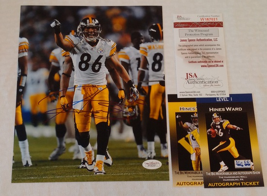 Hines Ward Autographed Signed 8x10 Photo NFL Football Steelers JSA COA HOF