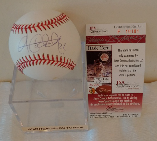 Andrew McCutchen Autographed Signed ROMLB Pirates Phillies JSA COA Selig Ball Cutch Display Case