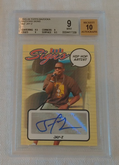 2005-06 Topps Bazooka Jay-Z Signs Autographed Insert Rookie Card BGS GRADED 9 MINT 10 Auto Low Pop