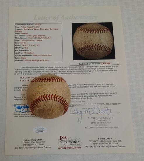 Bill McKechnie Satchel Paige +4 Autographed Multi Signed 1948 Indians Vintage Baseball Full JSA 1/1
