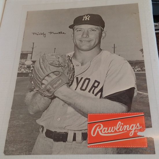 Vintage Early 1960s Rawlings Advertising Store Display Poster Mickey Mantle Yankees Very Rare 22x28