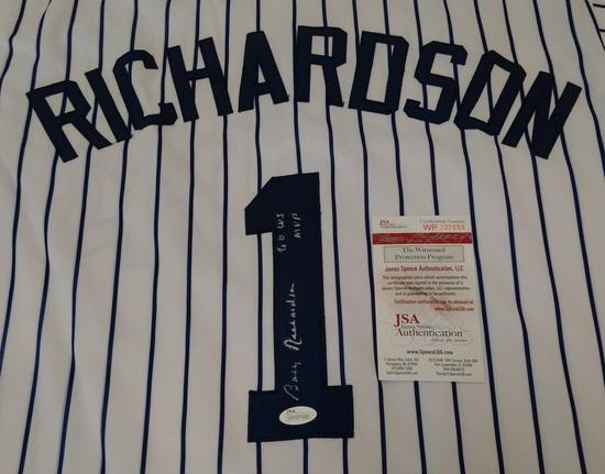 Bobby Richardson Autographed Signed Baseball Custom Jersey XL Stitched JSA COA Yankees Inscription
