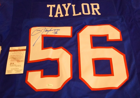 Lawrence Taylor Autographed Signed NFL Football Custom Jersey XL Stitched JSA COA Giants HOF