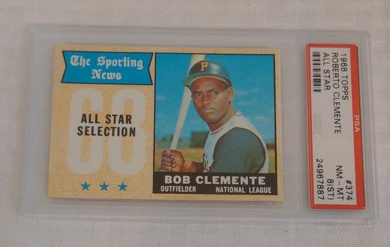 Vintage 1968 Topps Baseball Card #374 Roberto Clemente Pirates HOF All Star PSA GRADED 8 (ST) NRMT
