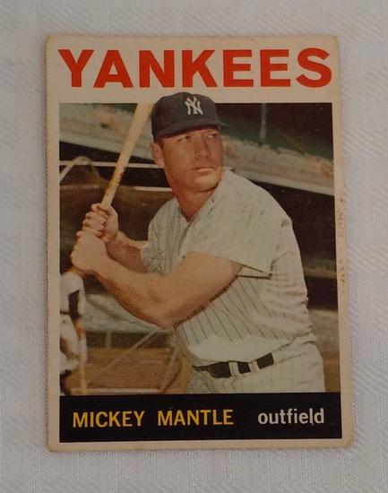 Vintage 1964 Topps Baseball Card #50 Mickey Mantle Yankees HOF Low Grade