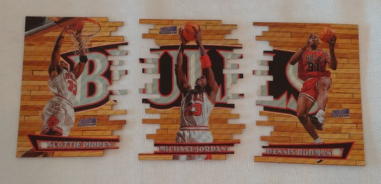 Triumverate Die Cut 1997-98 TSC NBA Basketball Members Only Insert 3 Card Lot Jordan Pippen Rodman