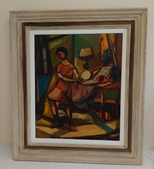 Large Painting Andrew Lukach Woman Abstract Expressionist Artist Signed 35x41 Art Framed Old Frame