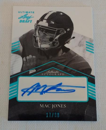 2021 Leaf Ultimate Draft NFL Football Rookie Card Autographed Insert Mac Jones Patriots RC 17/30