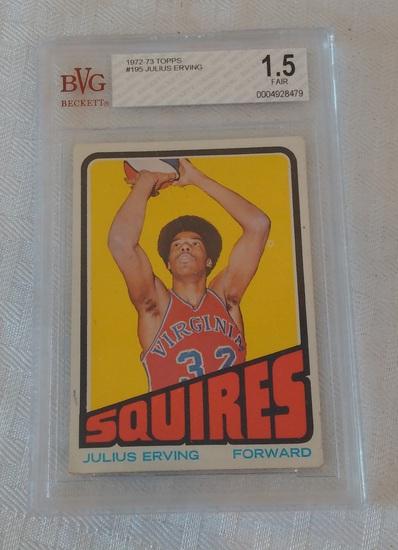 1972-73 Topps NBA Basketball Rookie Card #195 Dr J Julius Erving HOF Squires Beckett GRADED 1.5 Fair