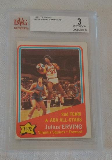 Vintage 1972-73 Topps NBA Basketball Rookie Year #255 Dr J Julius Erving All Star Beckett GRADED 3