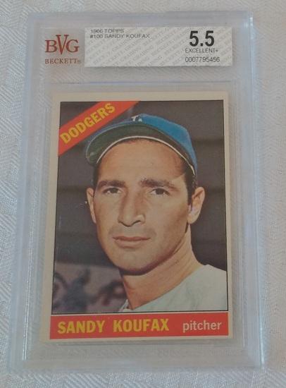 Vintage 1966 Topps Baseball Card #100 Sandy Koufax Dodgers HOF Beckett GRADED 5.5 EX+