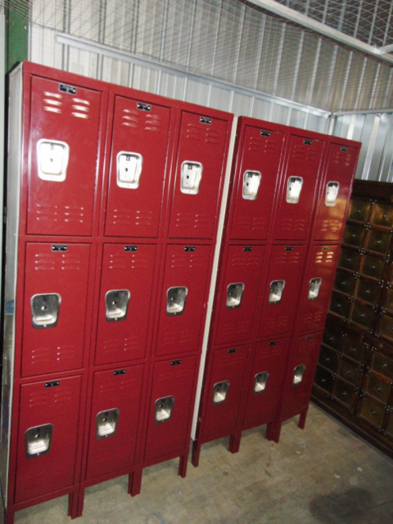 2 Hallowell Steel Premium Wardrobe Lockers In Triple Tier 3 Wide Sections LOCAL PICK UP ONLY