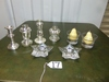 4 Silver Plated Candle Holders, 2 Glass Candle Holders W/ Pear Shaped Candles &