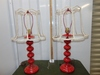 Matching Pair Of Red Metal Lamps W/ Skeleton Lamp Shades (LOCAL PICK UP ONLY)