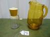 Vtg Federal Glass Nut / Spice Grinder & A Vtg Amber Glass Pitcher