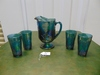 Vtg Blue Harvest Grape Carnival Glass Pitcher & 4 Matching Tea Glasses