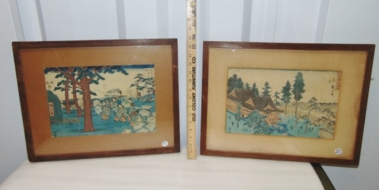 2 Antique Pre 1900 Japanese Woodblock Prints
