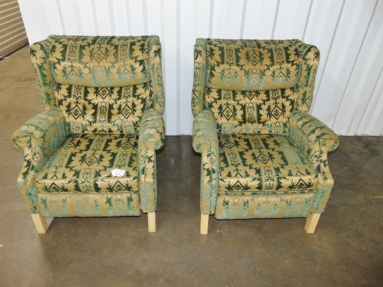 Matching Pair Of Brocade Wingback Recliners By Sherrill Furniture LOCAL PICK UP ONLY