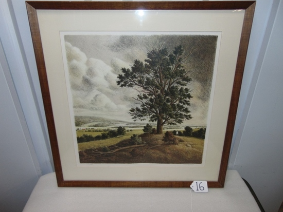 "Vtg Signed & Numbered Lithograph "" Hanover Hill "" By Thomas Locker W/ C O A"