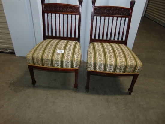 Pair Of Antique, Fully Restored Banister Back, Spring Seat Mahogany Parlor Chairs LOCAL PICK UP ONLY