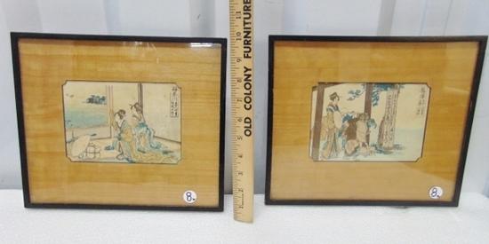 2 Antique Pre 1840 Japanese Woodblock Prints By Katsushika Hokusai