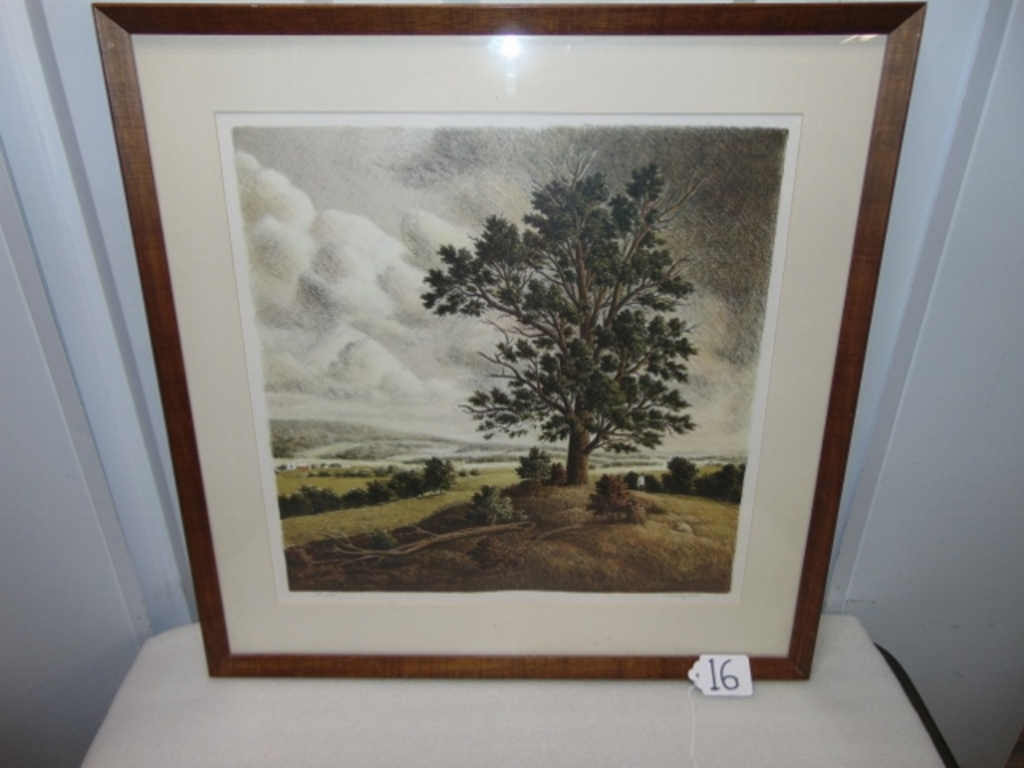 """Vtg Signed & Numbered Lithograph """" Hanover Hill """" By Thomas Locker W/ C O A"""