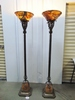 Matching Pair Of Ornate Antique Floor Lamps W/ Marble Shades LOCAL PICK UP ONLY